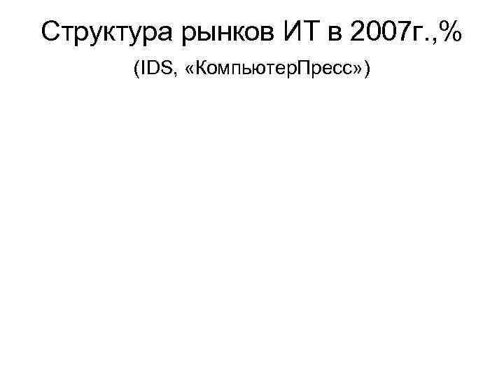 Структура рынков ИТ в 2007 г. , %  (IDS,  «Компьютер. Пресс» )
