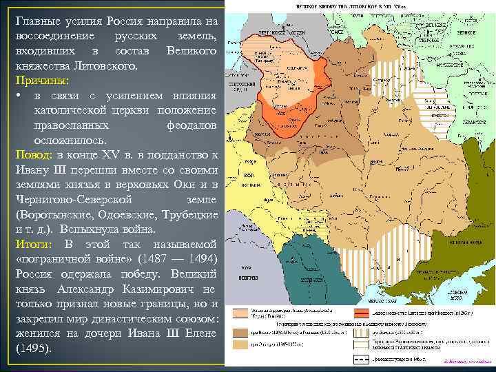 Главные усилия Россия направила на воссоединение русских  земель, входивших в состав Великого княжества