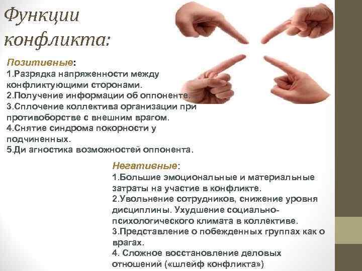 Функции конфликта: Позитивные: 1. Разрядка напряженности между конфликтующими сторонами. 2. Получение информации об оппоненте.