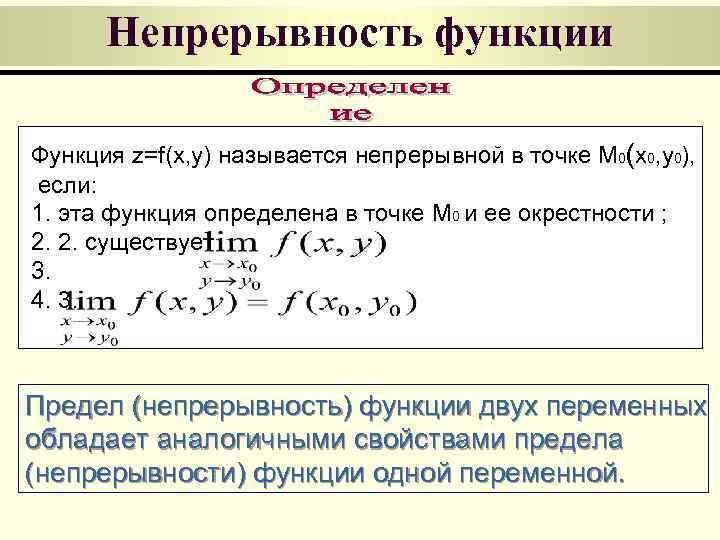 Непрерывность функции Функция z=f(x, y) называется непрерывной в точке M 0(x 0, y