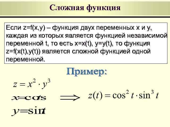 Сложная функция Если z=f(x, y) – функция двух переменных x и y,