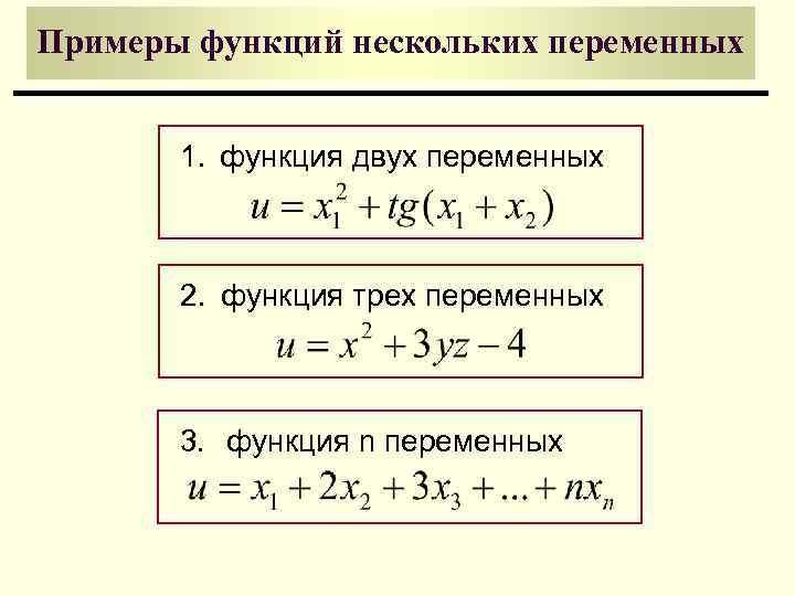 Примеры функций нескольких переменных   1. функция двух переменных  2. функция трех