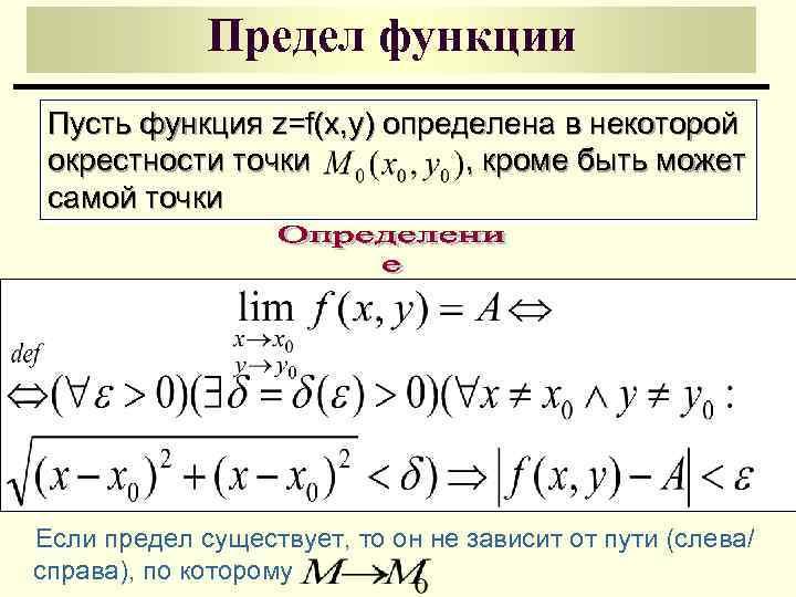 Предел функции Пусть функция z=f(x, y) определена в некоторой окрестности точки