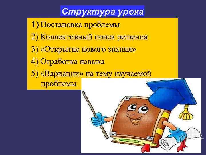 Структура урока 1) Постановка проблемы 2) Коллективный поиск решения 3) «Открытие нового