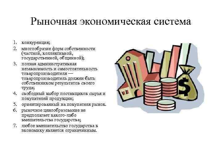 Рыночная экономическая система 1. конкуренция; 2. многообразие форм собственности (частной, коллективной, государственной,