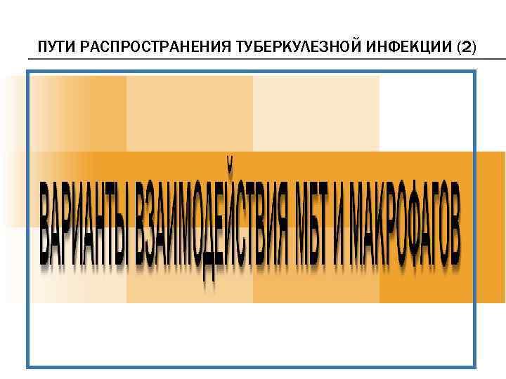 ПУТИ РАСПРОСТРАНЕНИЯ ТУБЕРКУЛЕЗНОЙ ИНФЕКЦИИ (2)