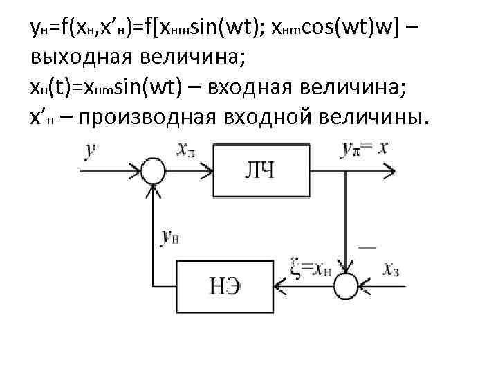 yн=f(xн, x'н)=f[xнmsin(wt); xнmcos(wt)w] – выходная величина; xн(t)=xнmsin(wt) – входная величина; х'н – производная входной