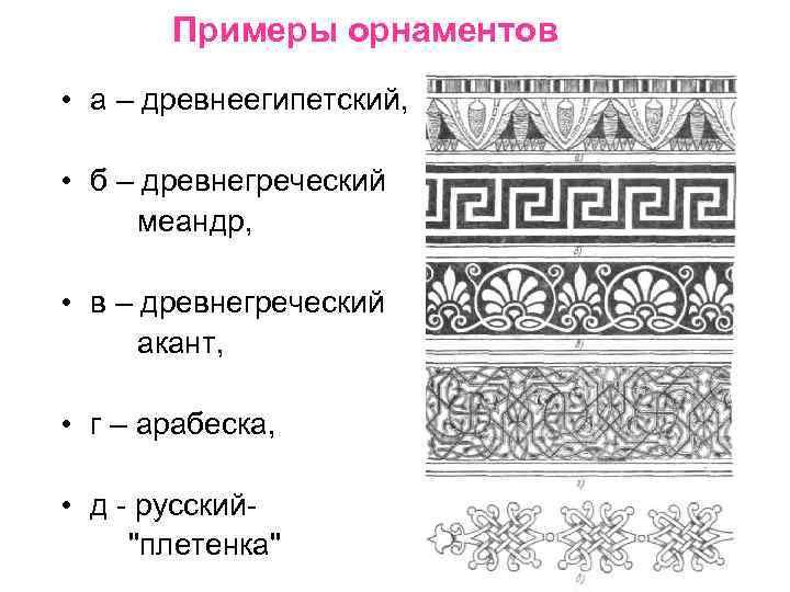 Примеры орнаментов • а – древнеегипетский, • б – древнегреческий