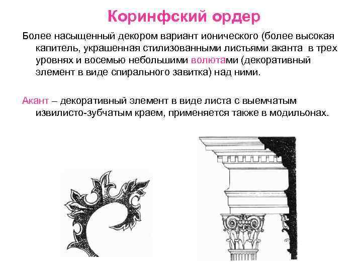 Коринфский ордер Более насыщенный декором вариант ионического (более высокая