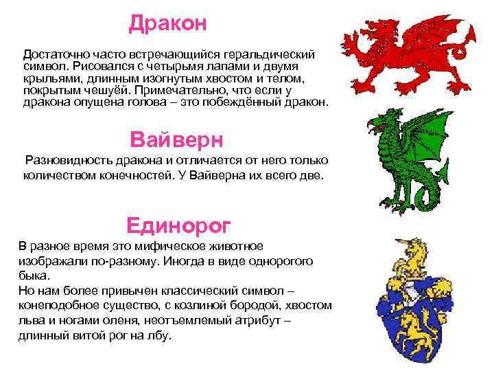 Дракон Достаточно часто встречающийся геральдический символ. Рисовался с четырьмя лапами и