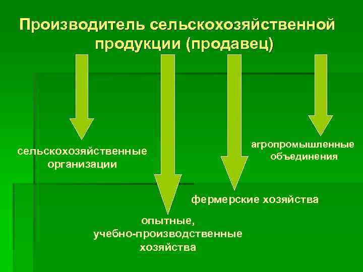 Производитель сельскохозяйственной   продукции (продавец)       агропромышленные сельскохозяйственные