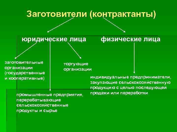 Заготовители (контрактанты)  юридические лица   физические лица  заготовительные торгующие