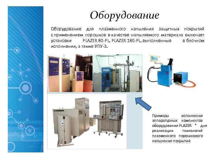 Оборудование для плазменного напыления защитных покрытий с применением порошков в качестве
