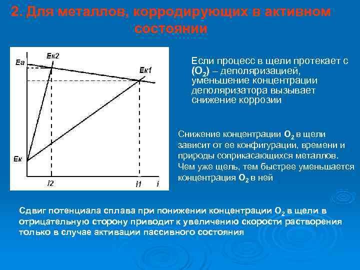 2. Для металлов, корродирующих в активном   состоянии