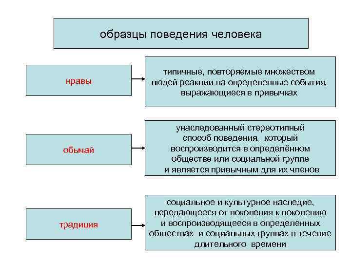 образцы поведения человека    типичные, повторяемые множеством нравы