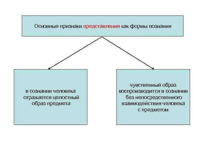 Основные признаки представления как формы познания