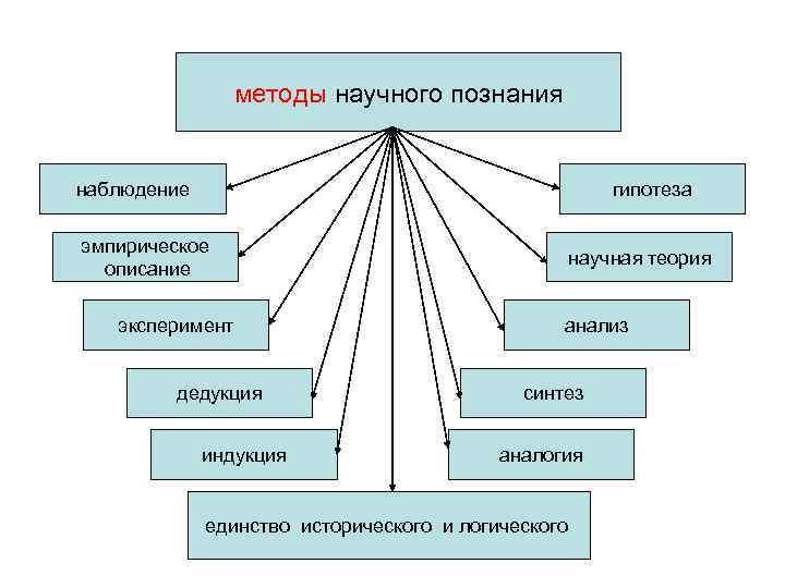 методы научного познания  наблюдение     гипотеза
