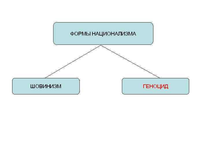 ФОРМЫ НАЦИОНАЛИЗМА ШОВИНИЗМ    ГЕНОЦИД