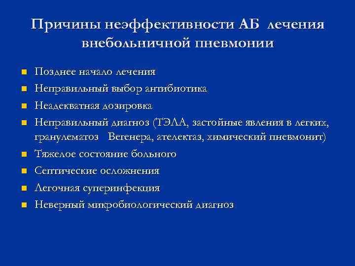 Причины неэффективности АБ лечения   внебольничной пневмонии n  Позднее начало