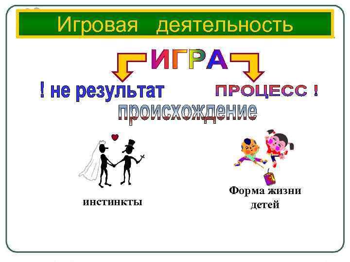 Игровая деятельность инстинкты Форма жизни детей