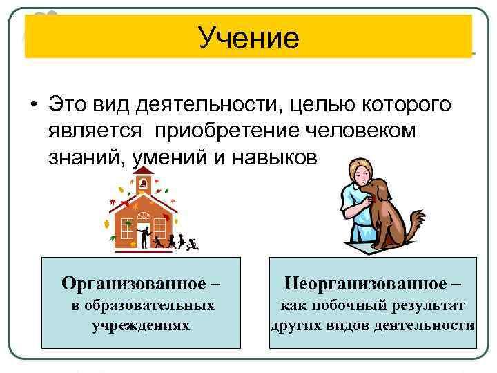 Учение • Это вид деятельности, целью которого является приобретение человеком знаний, умений и навыков