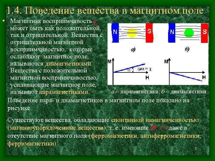 1. 4. Поведение вещества в магнитном поле • Магнитная восприимчивость может быть как