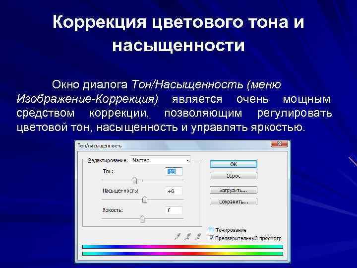 Коррекция цветового тона и  насыщенности  Окно диалога Тон/Насыщенность (меню Изображение-Коррекция) является