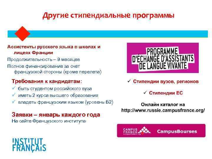 Другие стипендиальные программы  Ассистенты русского языка в школах и лицеях