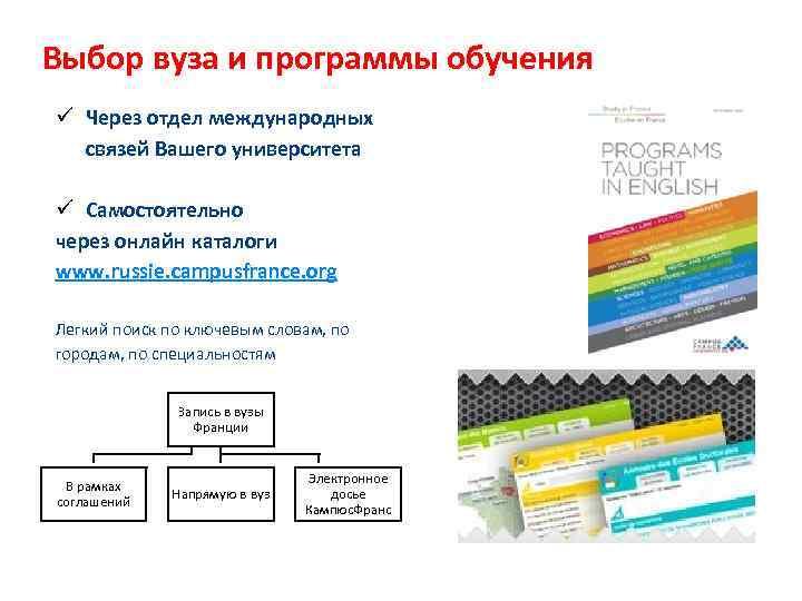 Выбор вуза и программы обучения ü Через отдел международных  связей Вашего университета ü