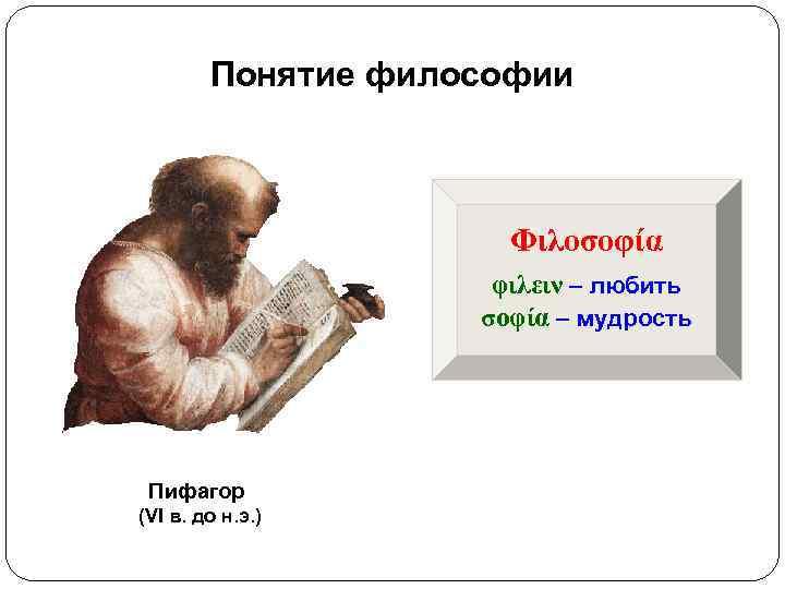 Понятие философии     Φιλοσοφία     φιλειν