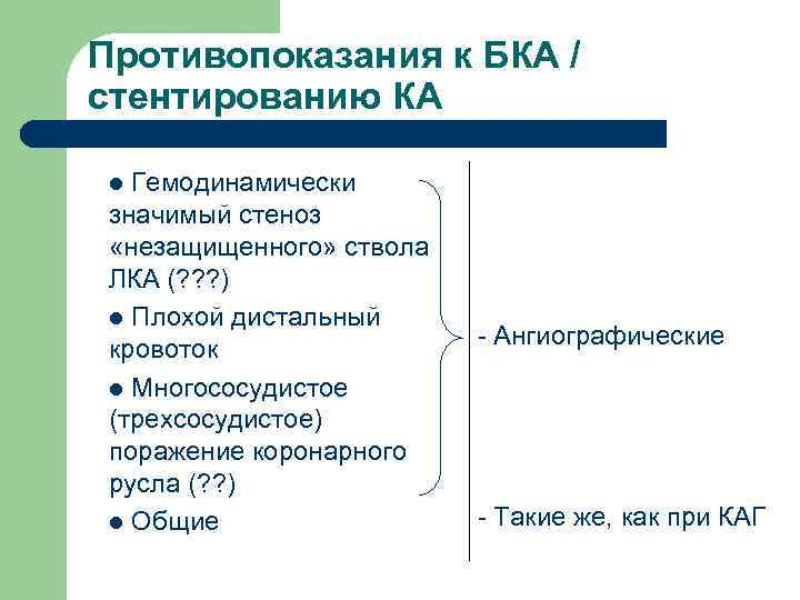 Противопоказания к БКА / стентированию КА  l Гемодинамически значимый стеноз  «незащищенного» ствола