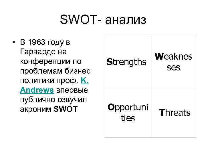 SWOT- анализ • В 1963 году в  Гарварде на