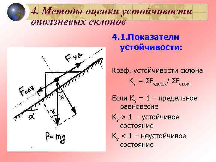 4. Методы оценки устойчивости оползневых склонов    4. 1. Показатели