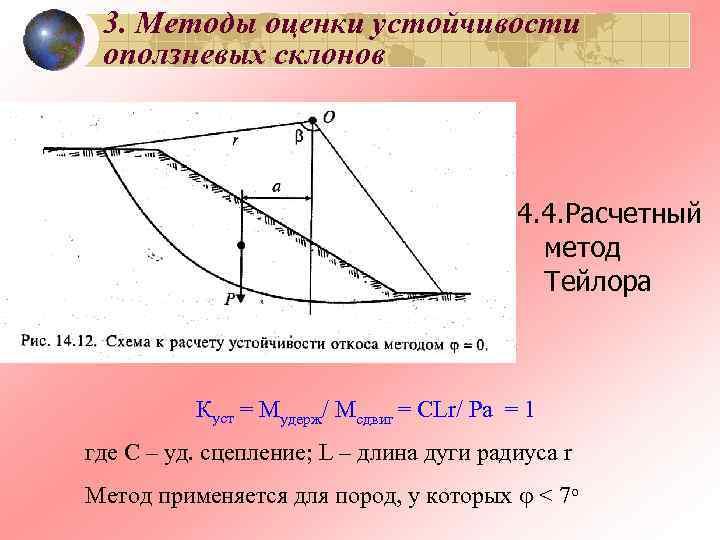 3. Методы оценки устойчивости оползневых склонов    4. 4. Расчетный