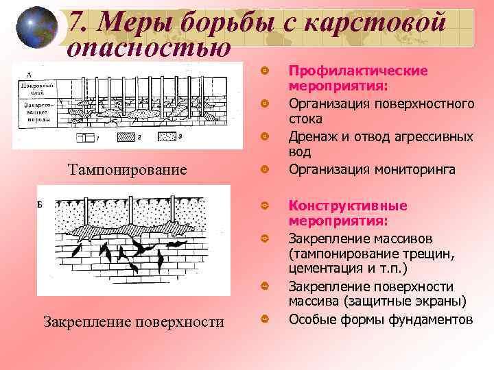 7. Меры борьбы с карстовой  опасностью