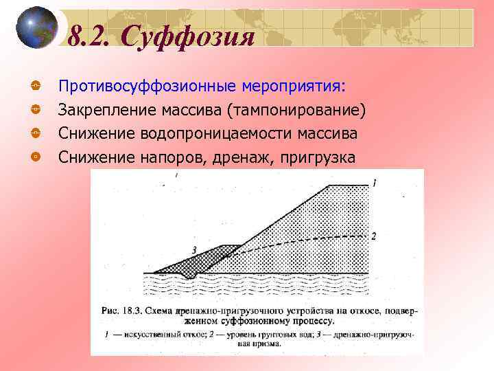 8. 2. Суффозия Противосуффозионные мероприятия: Закрепление массива (тампонирование) Снижение водопроницаемости массива Снижение напоров, дренаж,