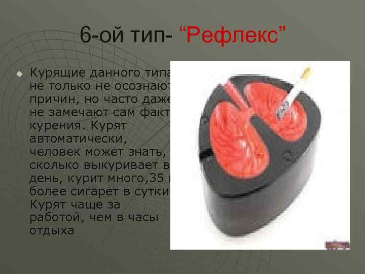 """6 -ой тип- """"Рефлекс"""" u  Курящие данного типа не только не"""