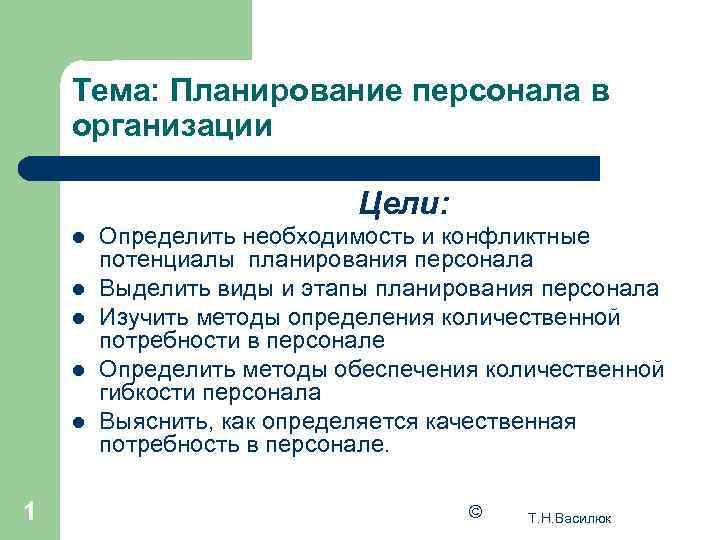 Тема: Планирование персонала в организации     Цели: l