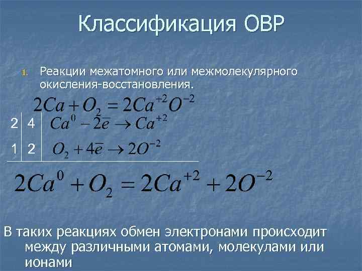 Классификация ОВР  1.  Реакции межатомного или межмолекулярного  окисления-восстановления.