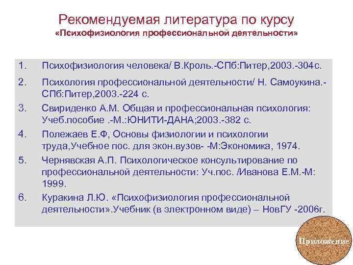 Рекомендуемая литература по курсу   «Психофизиология профессиональной деятельности»  1.
