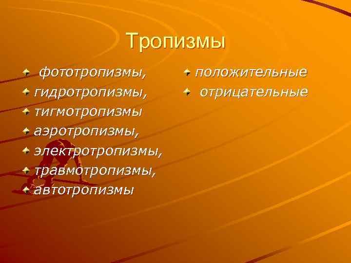 Тропизмы фототропизмы, положительные гидротропизмы,  отрицательные тигмотропизмы аэротропизмы, электротропизмы, травмотропизмы, автотропизмы