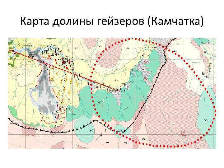 Карта долины гейзеров (Камчатка)