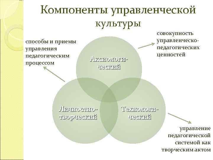 Компоненты управленческой     культуры
