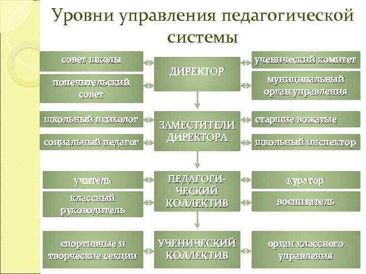 Уровни управления педагогической   системы  совет школы