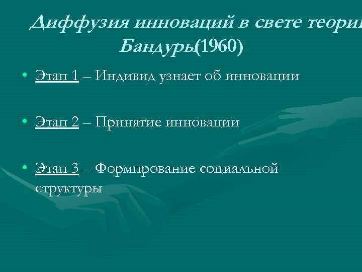 Диффузия инноваций в свете теории   Бандуры (1960) • Этап 1 –