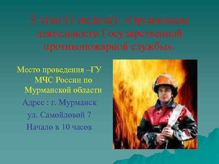 3 этап (1 неделя):  «Организация деятельности Государственной противопожарной службы» .