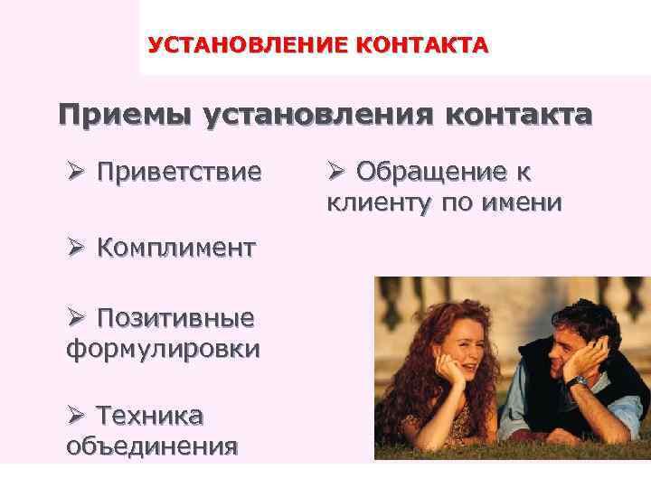 и контакта установления знакомства этапы