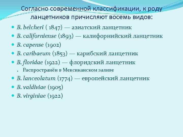 Согласно современной классификации, к роду   ланцетников причисляют восемь видов: