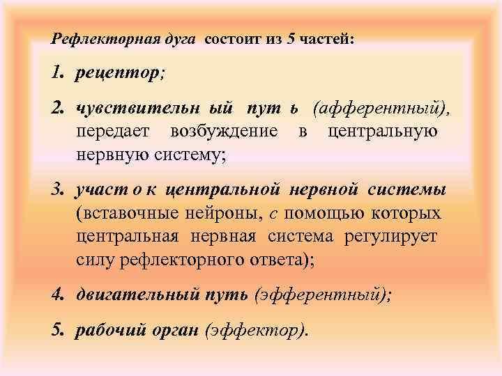 Рефлекторная дуга состоит из 5 частей:  1. рецептор; 2. чувствительн ый пут ь