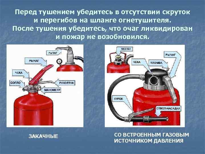 Перед тушением убедитесь в отсутствии скруток и перегибов на шланге огнетушителя. После тушения убедитесь,
